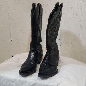 Tony Lama 6M Black leather Cowboy boots